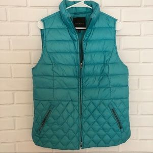 Talbots Turquoise Teal Quilted Zip Up Down Vest